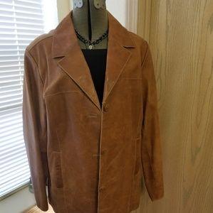 Mossimo Women Cognac Leather Jacjet